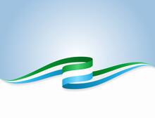 Sierra Leone Flag Wavy Abstract Background. Vector Illustration.