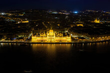 Glowing Budapest Parliament In Hungary