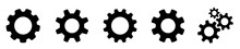 Gear Set. Setting Gears Icon. Cogwheel Group. Gear Design Collection. Black Gear Wheel Icons On White Background - Stock Vector.