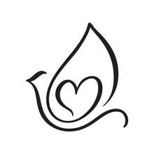 Vector Love Dove With Heart Logo Design Template Icon. Pigeon Carrying Heart In Doodle Style. Line Art Bird