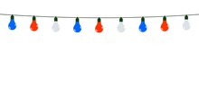 Garland Of Red, White And Blue Light Bulbs On A White Background