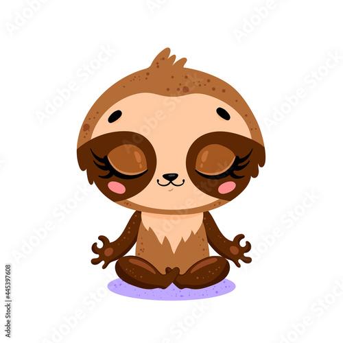 Fototapeta premium Vector flat cute cartoon doodle sloth meditation. Tropical jungle safari animals meditate. Animals yoga