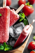 Strawberry Ice Lollies Black Bowl