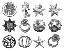 Realistic Low Polygon Geometry Shape Star Crystals And Other Design Elements. 3d Geometric Drawing. Vector.