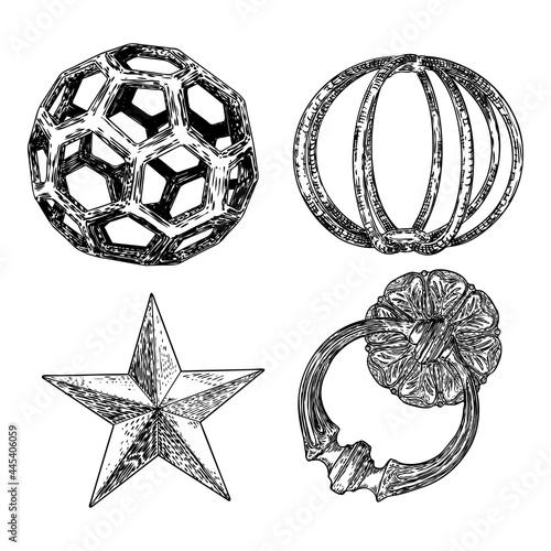 Fotografia Set of decorative balls in hand drawn style