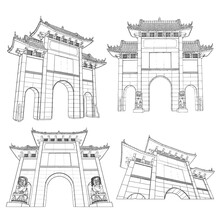 Chinese Archway Gates. Travel Poster And Tourism Concept. Gate Arch Entrance. Asia Or China Traditional Architecture Style. Vector.