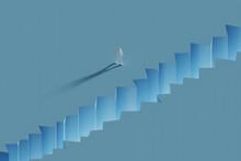 Three Dimensional Render Of Wireframe Man Walking Toward Crevice