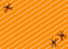 Striped Halloween Background With Spiders In Corners