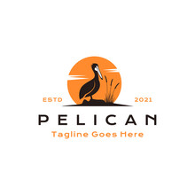 Vintage Pelican Bird With Sun Background Logo Design Vector Illustration
