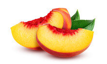 Slices Of Peach Isolated On White Background