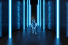 3D Illustration Of Astronaut In Frozen Dark Alien Environment