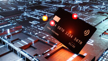 Three Dimensional Render Of Credit Card Floating Against Electronic Background