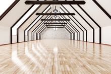 Three Dimensional Render Of Empty Attic With Shiny Wooden Floor
