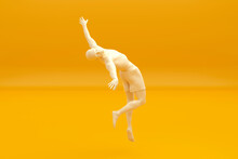 Three Dimensional Render Of Man Jumping Against Yellow Background