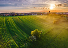 Germany, Baden Wurttemberg, Aerial View Of Agricultural Fields In Swabian Forest At Sunrise