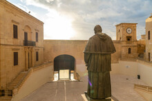 Sunlight On Statue At Cathedral Of Assumption Gozo, Malta