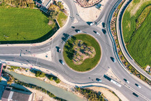 Malta, Northern District,Saint Pauls Bay, Aerial View Of Traffic Circle In Salina Nature Reserve