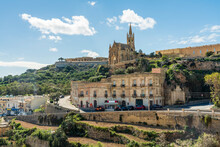 Scenic View Of Famous Historic Church In Town Gozo, Malta