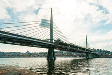 Turkey, Istanbul, Sun Shining Over Golden Horn Metro Bridge