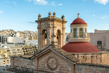 Malta, Northern Region, Mellieha, Bell Tower And Dome Of Parish Church Of Nativity Of Virgin Mary