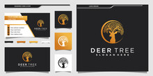 Creative Deer Tree Logo Design With Combination Of Leaves And Deer Animals And Business Card Design Premium Vekto