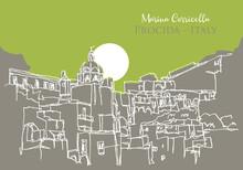 Sketch Illustration Of Marina Corricella In Italy