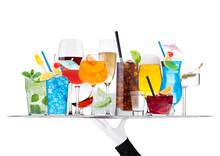 Batler Waiter Wearing White Glove Tray With Various Cocktails With Ice Isolated On White.Blue Lagoon, Martini, Negroni, Mojito, Spritz, Gimlet, Cuba Libre, Cosmopolitan, Margarita.