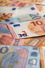 Ten Euro Banknote With Number 9 Written On It Symbolizing Devaluation Of Currency