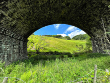 View Under A Victorian Stone Arch, Part Of A Larger Viaduct On, Halifax Road, Todmorden, UK