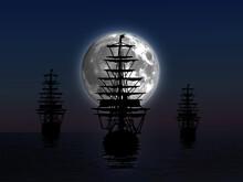 Seascape Of Three Sailing Ships Sailing Under The Full Moon