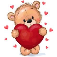 Teddy Bear With Heart On A Hearts Background