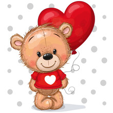 Teddy Bear In A Red Sweater With A Red Balloon