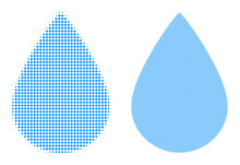 Dot Halftone Water Drop Icon. Vector Halftone Mosaic Of Water Drop Icon Designed With Spheric Points.