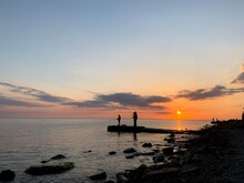 Sunset Sun Horizon Silhouette Black Sea Anapa Vacation Beach Summer Lighthouse Architecture Shore Skyline