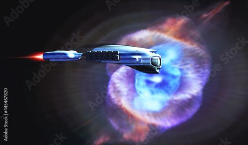 Canvas Cat's Eye Nebula Starship - A spacecraft from Earth passes by the Cat's Eye Nebula on an exploratory mission