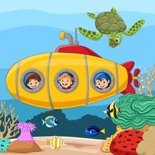 Cartoon Happy Kids In Submarine Underwater Journey