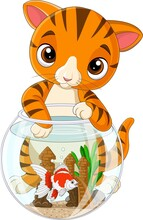 Cartoon Striped Cat With Goldfish In Fishbowl