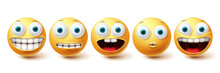 Emoji Funny Teeth Vector Set. Smiley Icons And Emoticon With Funny And Happy Smile Facial Expressions Isolated In White Background. Vector Illustration
