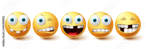 Smiley emoji funny teeth vector set. Smileys emoticon funny teeth and crazy collection facial expressions isolated in white background. Vector illustration