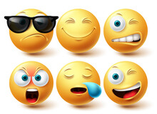 Smiley Cool Emoji Vector Set. Smileys Emoticon Yellow Icon Collection Isolated In White Background For Graphic Elements Design. Vector Illustration
