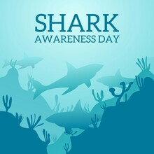 Illustration Of A Shark Under The Sea Symbolizing Of Shark Awareness Day Theme. Vector Illustration.