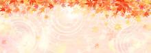 紅葉と水辺の横長背景イラスト