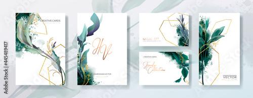 Fotografie, Obraz Wedding invitation frame set, flowers, leaves, mess and watercolor minimal vector