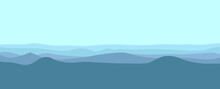 Sea Tides Layers In Cool Temperature Color Vector Illustration. Sea Waves Or Tides Vector Illustration. Nature Landscape. Sea Tides Landscape. Used For Background, Desktop Background, And Banner.
