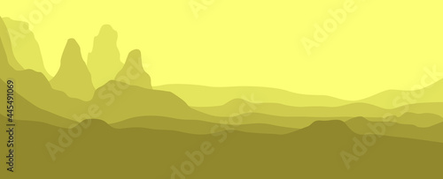 Cuadros en Lienzo Canyon layers landscape vector illustration used for background, desktop background, landing page, banner, typography background, and others