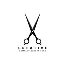 Barber Tool Scissors Logo Icon Background Symbol
