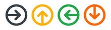 Next, Left, Right, Up, Down Arrow Icon  Vector On Round Button Set