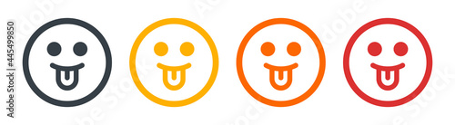 Face with tongue sticking out. Emoticon, emoji concept. Smiley symbol