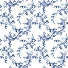 Beautiful Seamless Underwater Pattern With Watercolor Sea Horse. Stock Illustration.