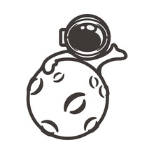 Moon And Astronaut Simple Black Line Art Cartoon Illustration Design Vector